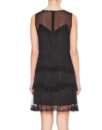 Plumetis Tulle Dress With Jet Beads