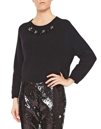 Wool And Cashmere Jumper With Jewel Embroidery