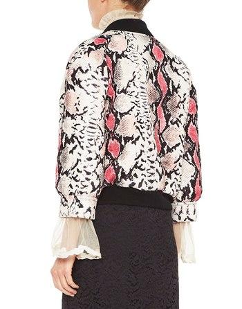 Python Print Jacquard Fabric Bomber Jacket