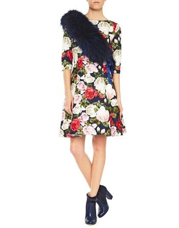 Jacquard Fabric Dress With Roses Print