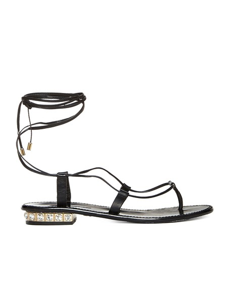 Leather Flip-flop With Rhinestone Heel