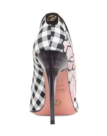 Туфли-лодочки из ткани в клетку «виши» с вышивкой