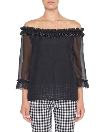 Blusa In Cotone Con Rouches