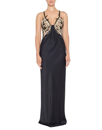 Silk Satin Dress With Bamboo Embroidery