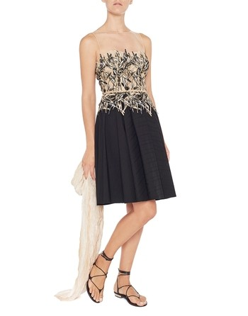 Tulle And Cotton Dress With Bamboo Embroidery