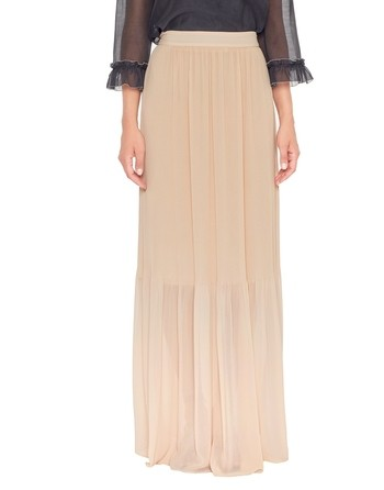 Long Pleated Chiffon Skirt