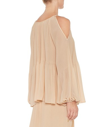 Pleated Chiffon Blouse With Lanyards