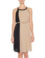 Chiffon Dress with Two Tone Pleating