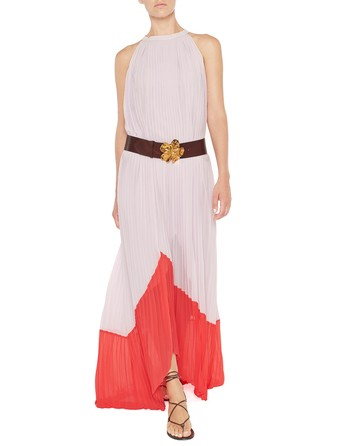 Long Pleated Two Tone Chiffon Dress