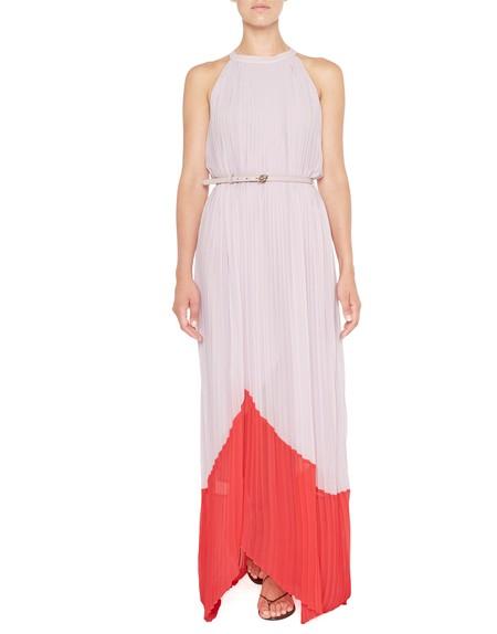 Long Pleated Two Tone Chiffon Dress