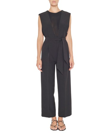 Twill Jumpsuit With Pleated Insert