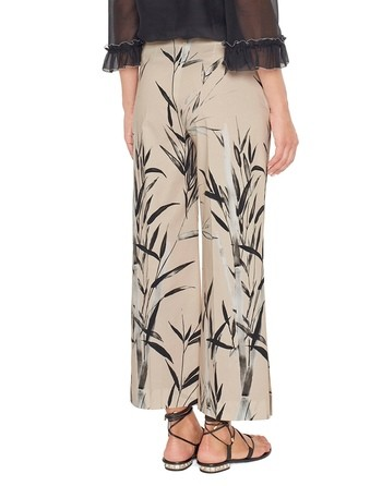 Pantalone Over Cropped Con Stampa Bamboo