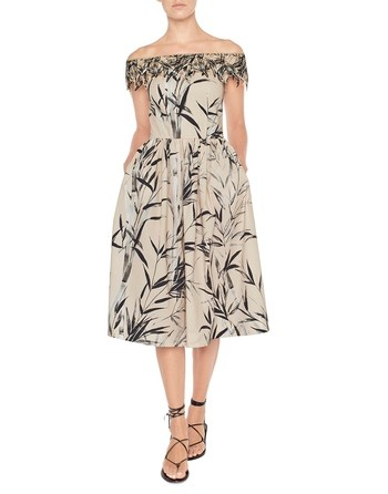 Bamboo Print Cotton Dress With Embroidery