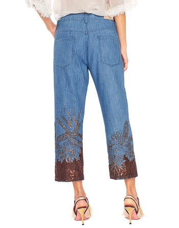 Five Pocket Boyfriend Jeans With Embroidery