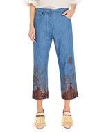 Boyfriend-Jeans im Five-Pocket-Stil mit Stickerei