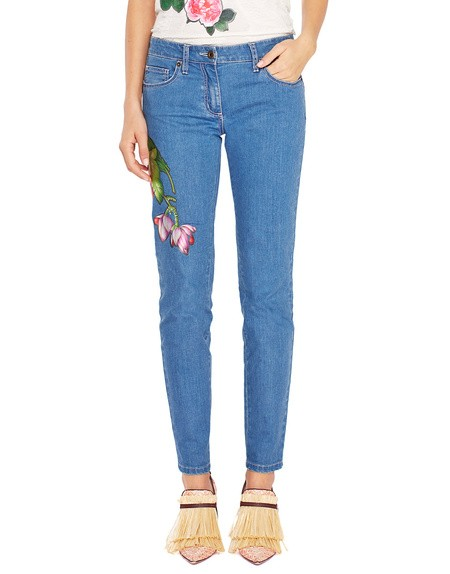 Five Pocket Skinny Jeans With Flowers