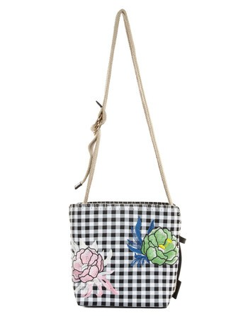 Vichy Bucket Bag With Flower Embroidery