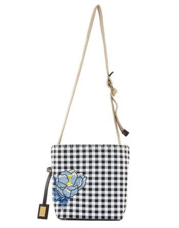 Сумка-торба из ткани в клетку «виши» с цветочной вышивкой