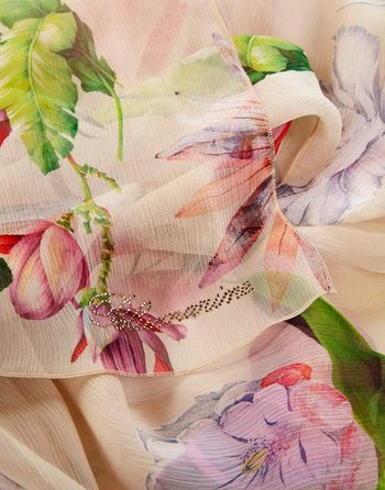 Estola De Seda Con Estampado De Flores