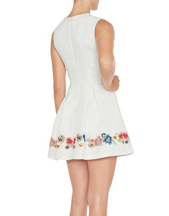 Jacquard Dress With Flower Embroidery