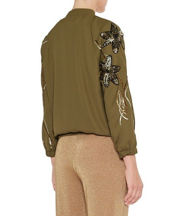 Crêpe De Chine Bomber Jacket With Flower Embroidery