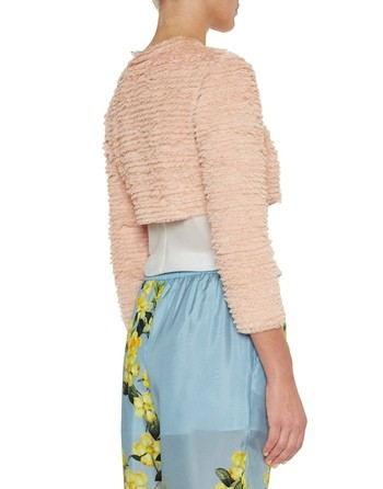 Cropped Tulle Jacket With Ruching