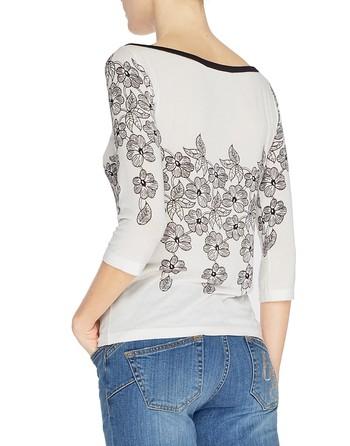 Floral Print Three-quarter Length Sleeve Jumper