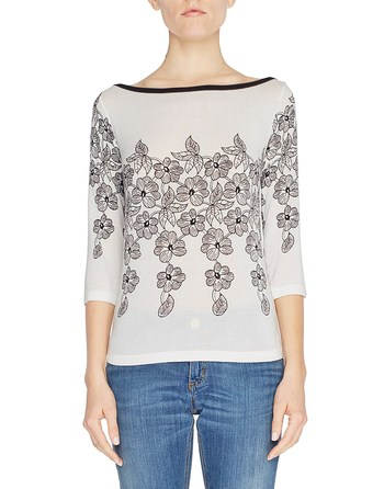 Floral Print Three-quarter Length Sleeve Jumper