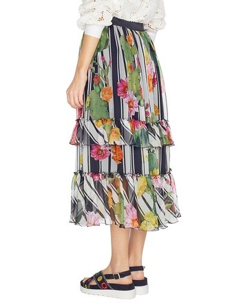 Stripe And Cactus Print Silk Skirt