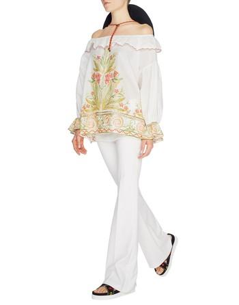 Хлопчатобумажная блузка с вышивкой в этническом стиле