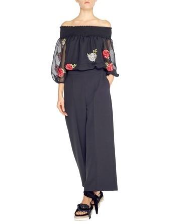 Блузка из шёлкового шифона с вышитыми розами