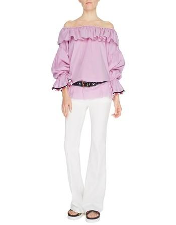 Хлопчатобумажная блузка с оборками