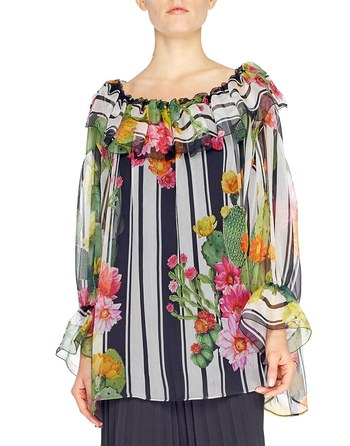 Stripe And Cactus Print Chiffon Blouse
