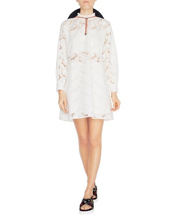 Broderie Anglaise Rose Long-sleeved A-line Dress