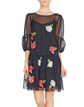 Embroidered Rose Chiffon Dress