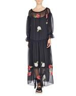 Длинное платье из шифона с вышитыми розами