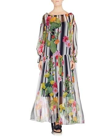 Vestido Largo De Seda Con Estampado De Rayas Y Cactus