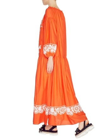 Long Cotton Folk Motif Dress
