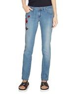 Пятикарманные джинсы скинни с вышивкой