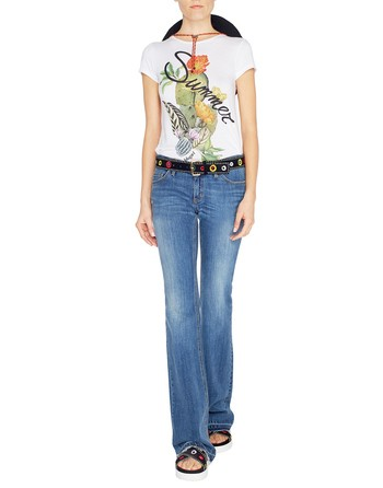 5-pocket Flared Jeans With Embroidery