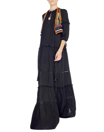 Long Viscose Dress With Braiding