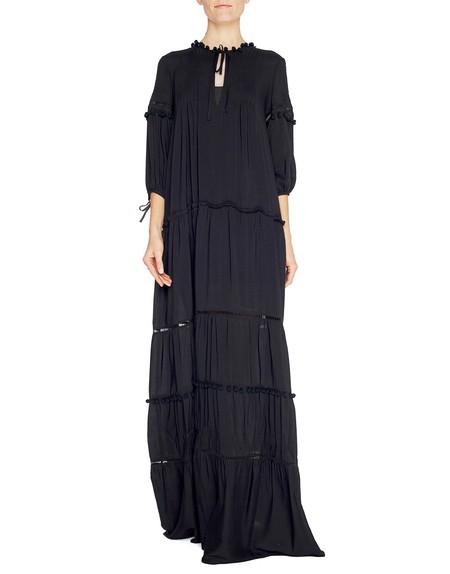 Vestido largo de viscosa con pasamanería
