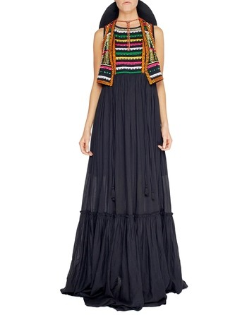 Long Viscose Dress With Ethnic Patterns