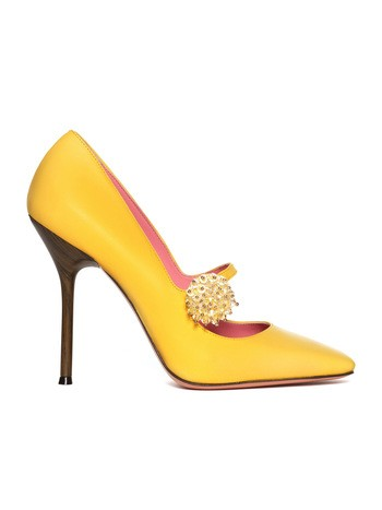 Leather Court Shoe With Jewel Button