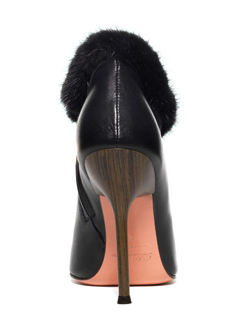 Leather Short Boot With Mink Fur