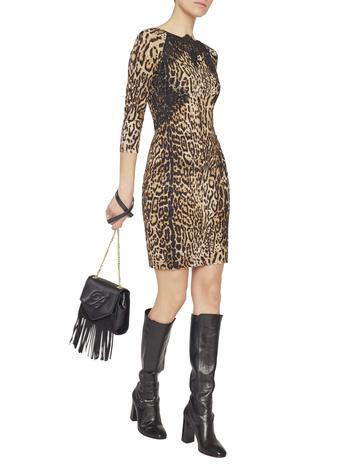 Animal-print Dress With Lace