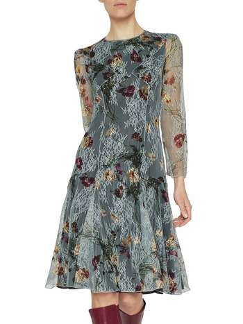 Bouquets Print Lace Dress