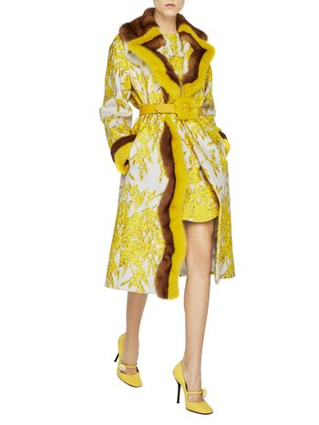 Spanish Broom Print Coat With Mink Fur