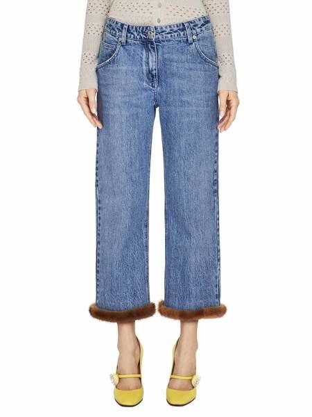 Boyfriend Jeans With Mink Fur