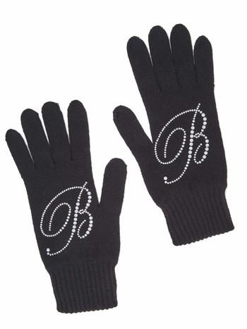 Woollen Gloves With Swarovski Logo